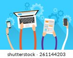 long hands hold device... | Shutterstock .eps vector #261144203