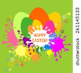 colorful easter card. green... | Shutterstock .eps vector #261145133