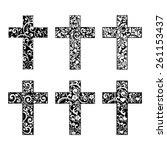 set of crosses isolated on... | Shutterstock .eps vector #261153437