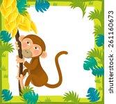 cartoon frame scene   monkey  ...   Shutterstock . vector #261160673