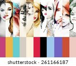 collage fashion illustrations... | Shutterstock . vector #261166187
