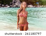 pretty young sexy tanned woman...   Shutterstock . vector #261180797