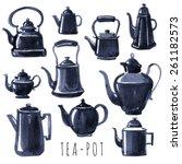 tea time. vector hand drawn set ...   Shutterstock .eps vector #261182573