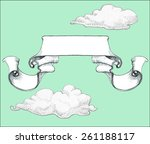 banner and clouds  vintage ... | Shutterstock .eps vector #261188117