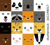 Set Of Cute Simple Animal Faces