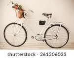 white retro bicycle on white... | Shutterstock . vector #261206033