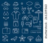 summer objects linear icons set | Shutterstock .eps vector #261209363