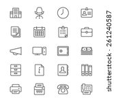 office supplies thin icons | Shutterstock .eps vector #261240587