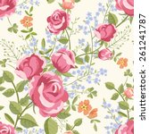 seamless pattern with bouquets... | Shutterstock .eps vector #261241787