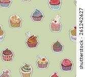 cupcake pattern. seamless sweet ... | Shutterstock .eps vector #261242627
