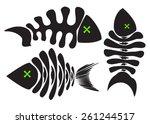 set of vector fish skeleton | Shutterstock .eps vector #261244517