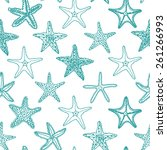 starfishes  seamless pattern ... | Shutterstock .eps vector #261266993