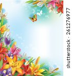 background of lilies and irises ... | Shutterstock .eps vector #261276977
