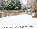 Snow On Wood Deck And Fence...