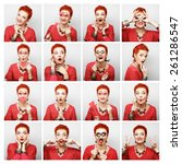 collage of woman different... | Shutterstock . vector #261286547