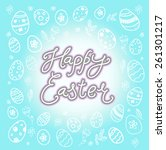 happy easter. text message.... | Shutterstock .eps vector #261301217