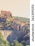 Small photo of View of Saint Saturnin les Apt, Provence, France. Castle ruins on a hill above the village