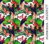 beautiful seamless tropical... | Shutterstock . vector #261320177