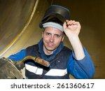 welder with mig  mag welding... | Shutterstock . vector #261360617