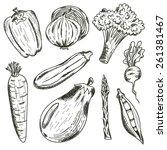 vegetables set on white... | Shutterstock .eps vector #261381467