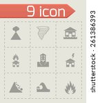 vector black disaster icon set... | Shutterstock .eps vector #261386393