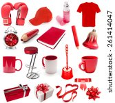 Different Isolated Objects Red...