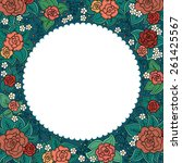 vector varicolored floral round ... | Shutterstock .eps vector #261425567