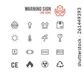 box warning sign icon set....