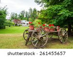 Old Wooden Wagon With Flowers...