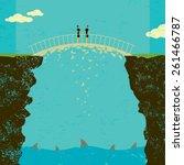 crumbling business agreement... | Shutterstock .eps vector #261466787