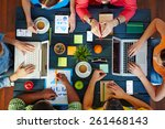 high angle view of people... | Shutterstock . vector #261468143