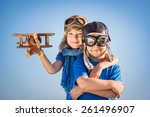happy kids playing with vintage ... | Shutterstock . vector #261496907