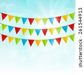 color party flags on sunny...   Shutterstock .eps vector #261544913