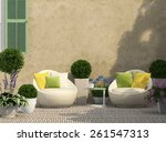 cozy terrace in the garden with ... | Shutterstock . vector #261547313