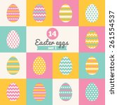 Set Of Easter Eggs With Stripe...