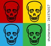 pop art zombie symbol icons.... | Shutterstock .eps vector #261576317