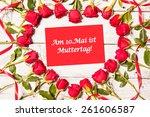frame of fresh roses arranged... | Shutterstock . vector #261606587