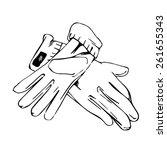 elegant pair of gloves lie on... | Shutterstock .eps vector #261655343