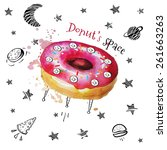 donut  watercolor illustration | Shutterstock .eps vector #261663263