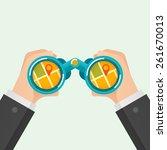 hand and binocular  gps... | Shutterstock .eps vector #261670013