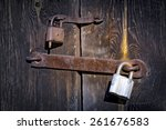 Old Two Rusty Locks On Wooden...