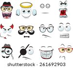 set of cartoon faces with...   Shutterstock .eps vector #261692903