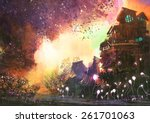 fantasy landscape with ancient... | Shutterstock . vector #261701063