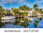 luxurious yacht and waterfront... | Shutterstock . vector #261715763