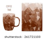 polygonal abstract coffee menu. ... | Shutterstock .eps vector #261721103