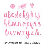 hand drawn watercolor font for... | Shutterstock .eps vector #261728327