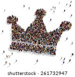 large group of people seen from ... | Shutterstock . vector #261732947