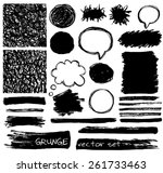 vector set of grunge black... | Shutterstock .eps vector #261733463