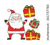 cartoon santa claus with... | Shutterstock .eps vector #261737783