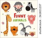 set of funny animals in cartoon ... | Shutterstock . vector #261821237